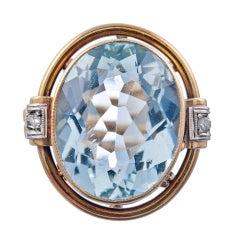 1940s 10ct Oval Aquamarine Ornate Scrolling Retro Ring