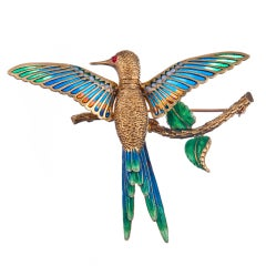 Magnificent Whimsy Plique-a-Jour Enamel Hummingbird Brooch