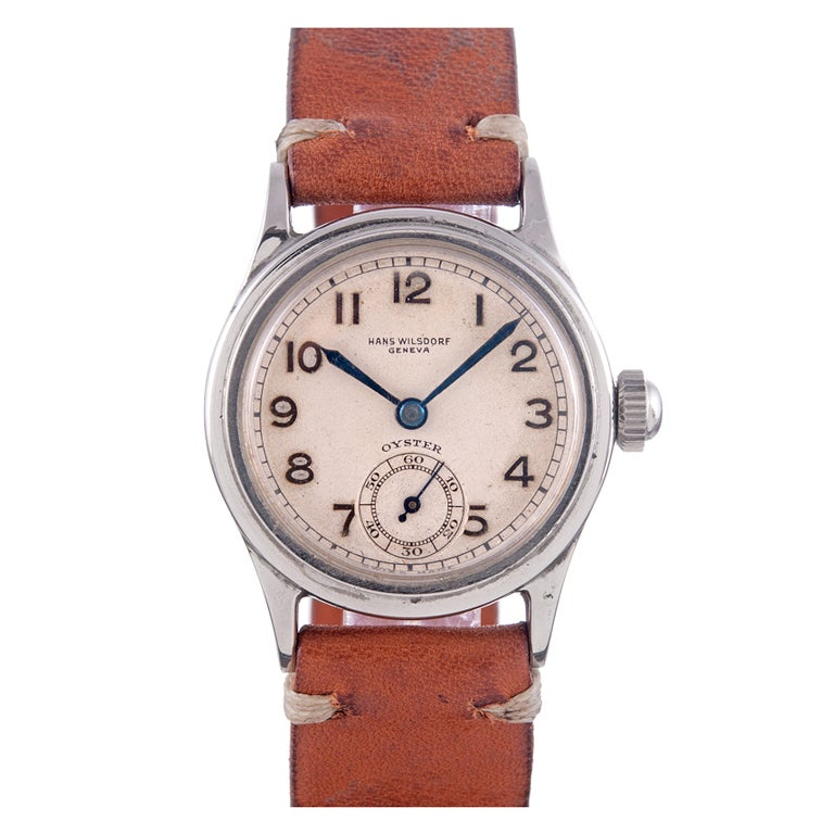 ROLEX Rare and Historically Important Steel Hans Wilsdorf Oyster Wristwatch