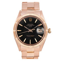ROLEX Rose Gold Date Wristwatch with Oyster Bracelet circa 1970s