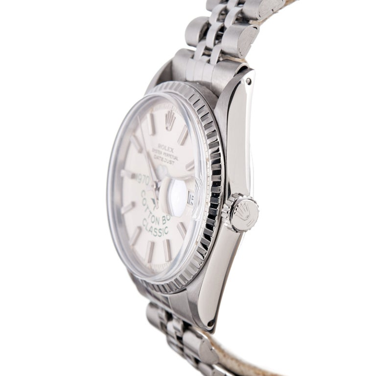 ROLEX Stainless Steel and White Gold Cotton Bowl Classic Datejust Wristwatch circa 1970 image 2