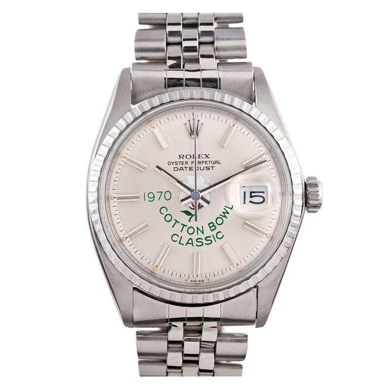 ROLEX Stainless Steel and White Gold Cotton Bowl Classic Datejust Wristwatch circa 1970