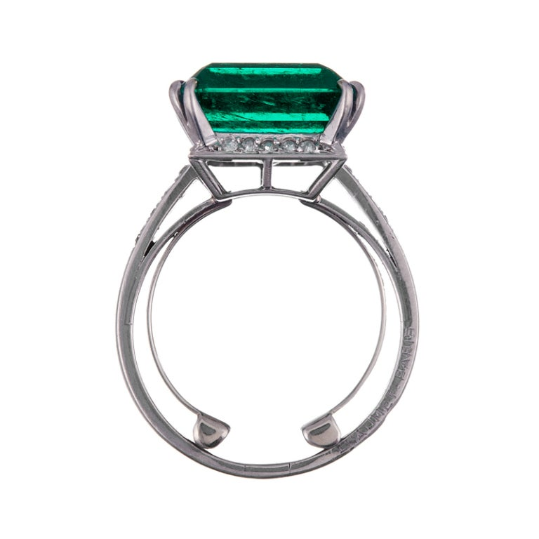 1955 CHAUMET Exceptional 7.80Ct Colombian Emerald Signed Ring 1