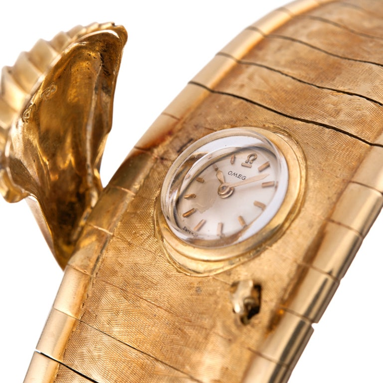 Women's Omega Ladies Yellow Gold Concealed Dial Bracelet Watch For Sale