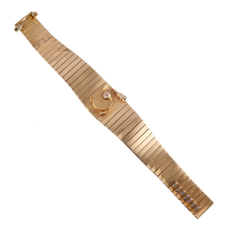Omega Ladies Yellow Gold Concealed Dial Bracelet Watch For Sale 1