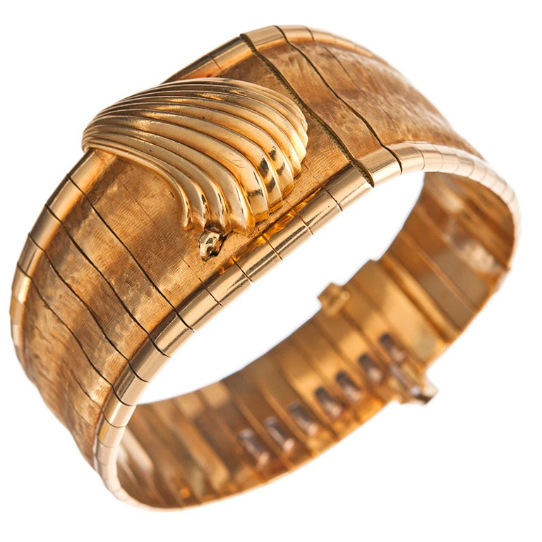 Omega Ladies Yellow Gold Concealed Dial Bracelet Watch For Sale