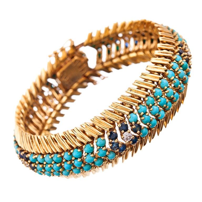 1950s Flexible Turquoise Sapphire Diamond Gold Bracelet For Sale