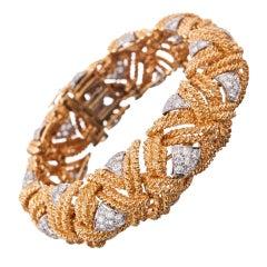 David Webb Diamond Gold Woven Ropes Bracelet