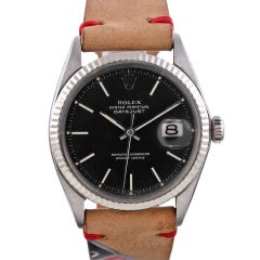 ROLEX Stainless Steel Datejust Pie Pan Bezel and Roulette Strap