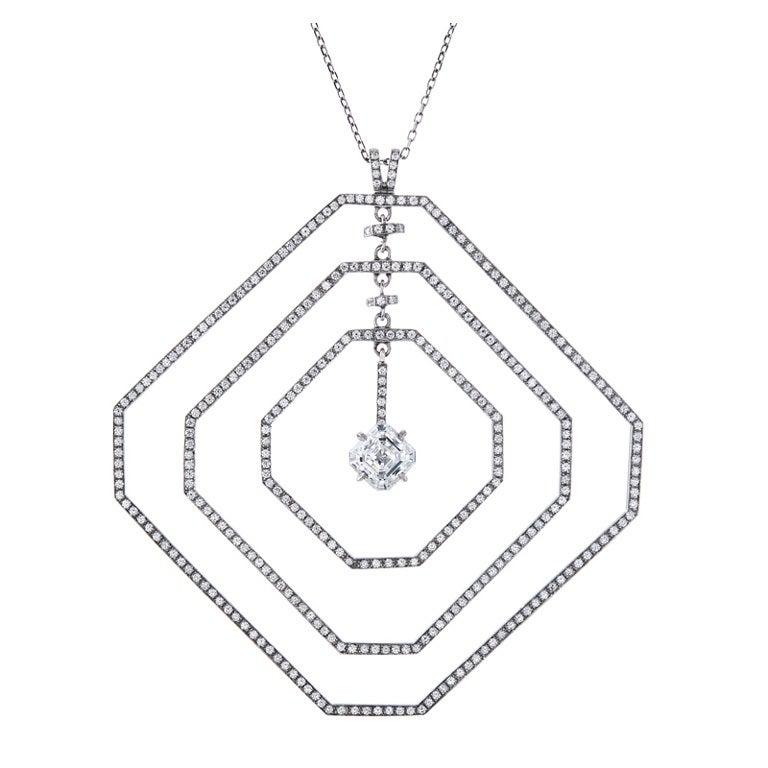 Daniel K Fine Diamond Geometrically Stylized Platinum Necklace For Sale