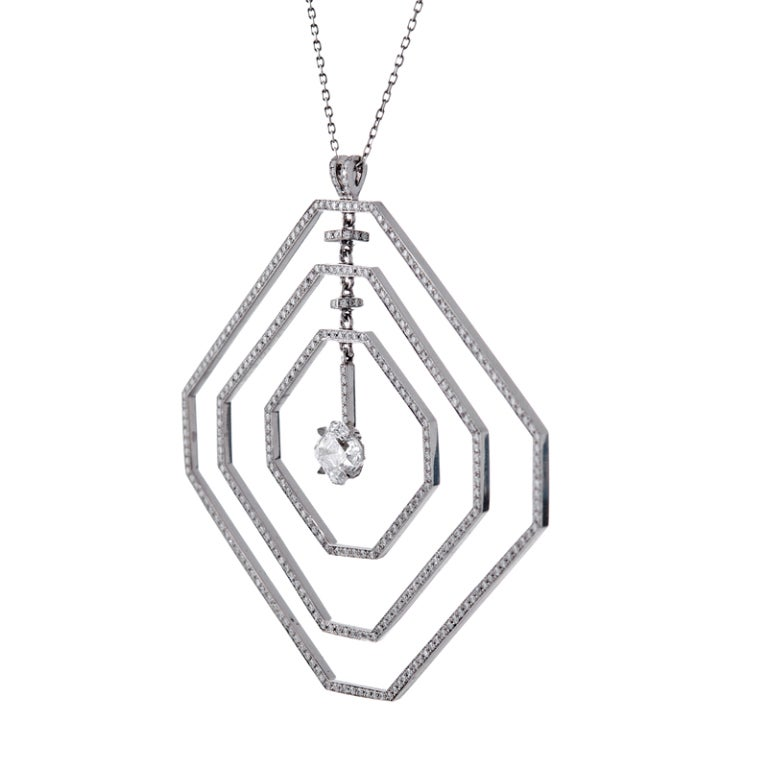 Daniel K Fine Diamond Geometrically Stylized Platinum Necklace In Excellent Condition For Sale In Carmel-by-the-Sea, CA
