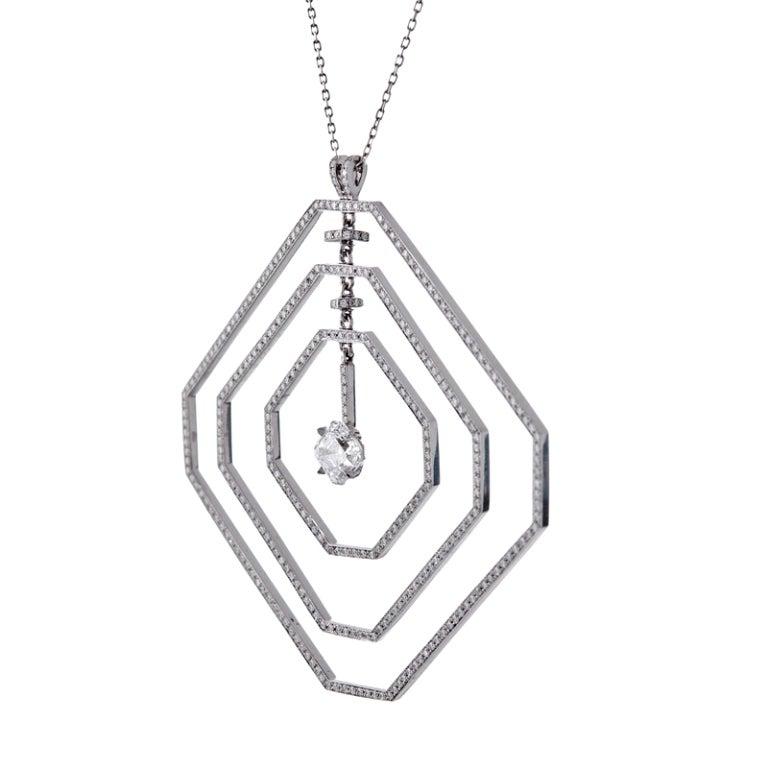 Daniel K Fine Diamond Geometrically Stylized Platinum Necklace 3