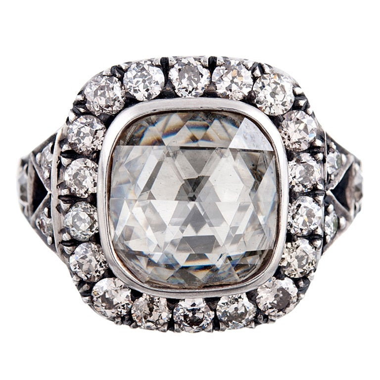 5 Carat Rose Cut Diamond and Silver over Rose Gold Ring at 1stdibs
