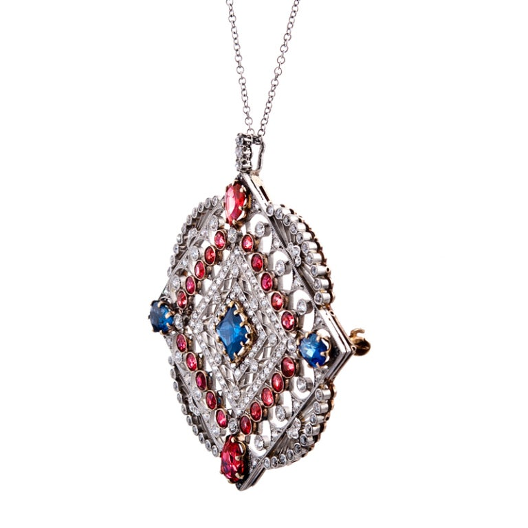 Large Edwardian Ruby Sapphire Diamond Gold Pendant In Excellent Condition For Sale In Carmel-by-the-Sea, CA