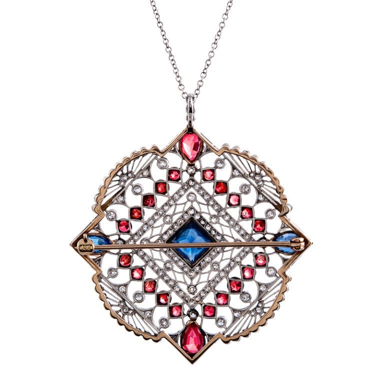 Women's Large Edwardian Ruby Sapphire Diamond Gold Pendant For Sale