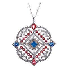 Large Edwardian Ruby Sapphire Diamond Gold Pendant