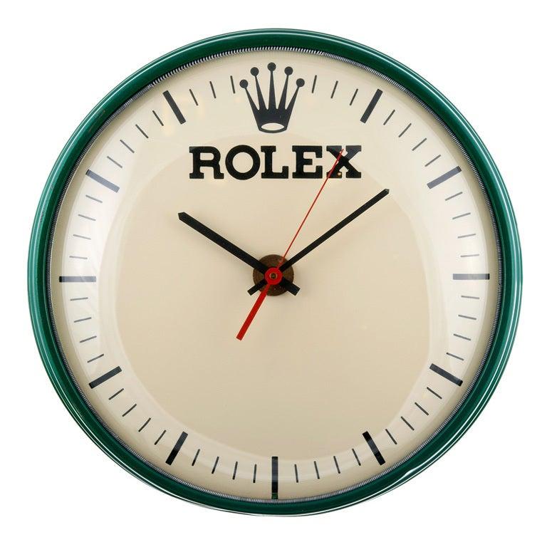 rolex metal wall clock circa 1960s at 1stdibs