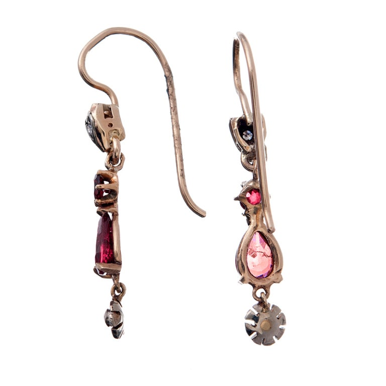 Circa 1920 Ruby and Diamond Rose Gold American-Made Earrings 2