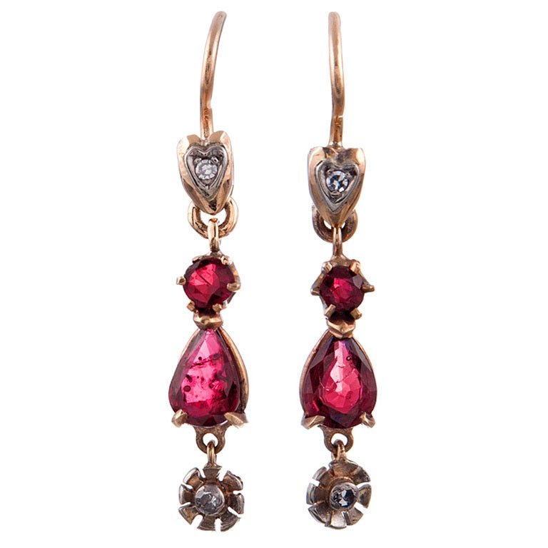 Circa 1920 Ruby and Diamond Rose Gold American-Made Earrings 1