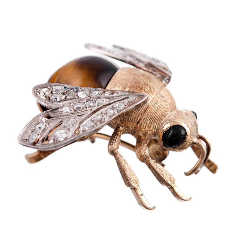 Fine Edwardian Bee Pin with Tiger's Eye and Diamonds 2