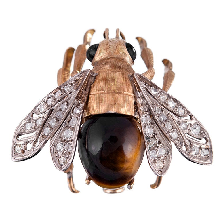 Fine Edwardian Bee Pin with Tiger's Eye and Diamonds 1