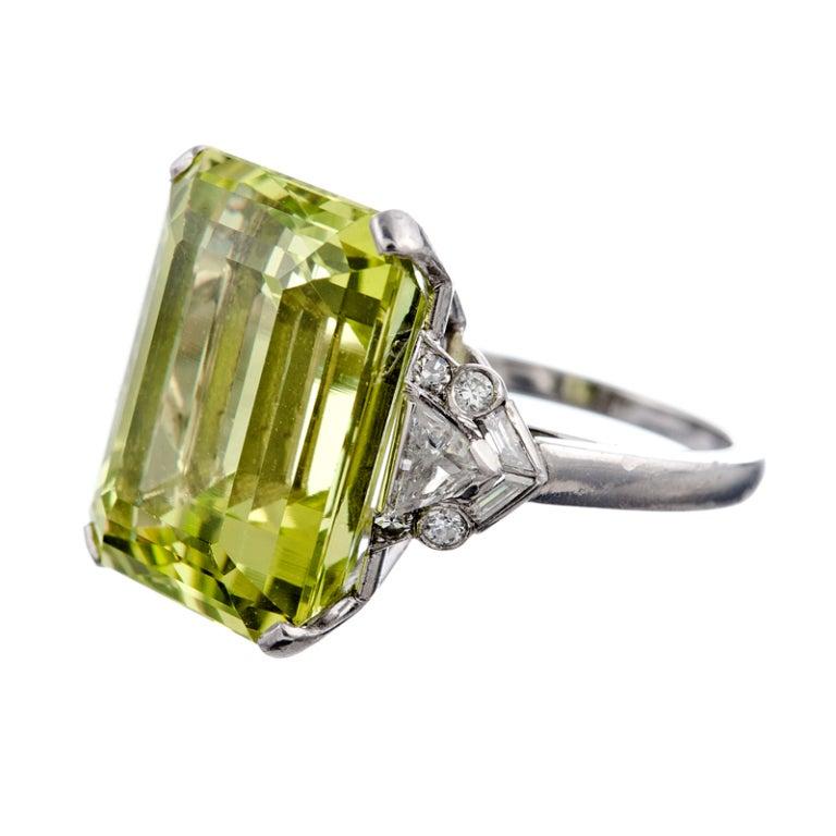Raymond Yard Fine Chrysoberyl And Diamond Platinum Ring At