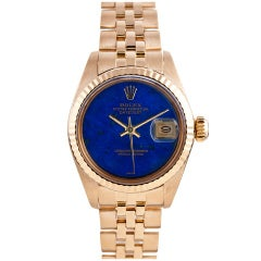 Rolex Lady's Yellow Gold Datejust Wristwatch with Lapis Dial