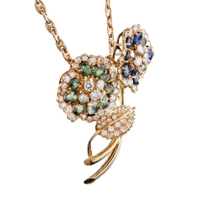 Women's Hammerman Bros. Sapphire Diamond Yellow Gold Flower Enhancer For Sale