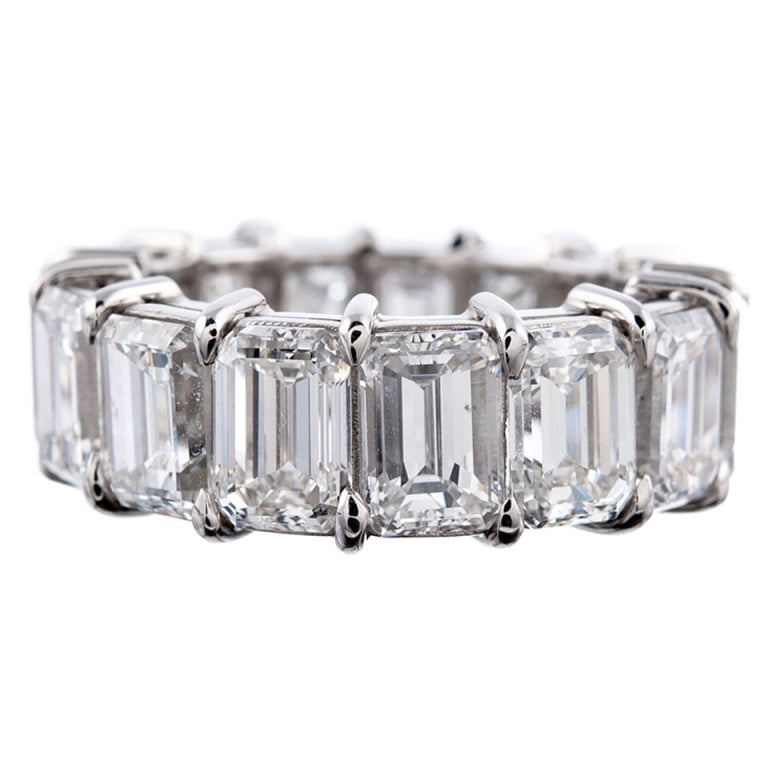 striking 15 carat total emerald cut eternity band at 1stdibs