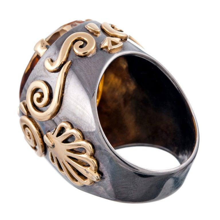 Stylized Large Citrine Gold Men's Ring  3