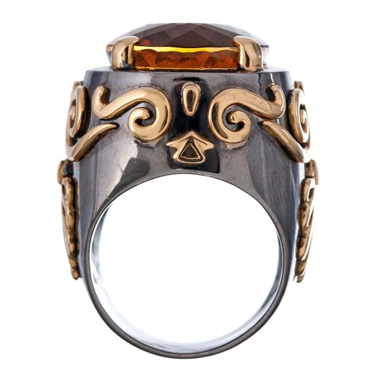 Stylized Large Citrine Gold Men's Ring  4