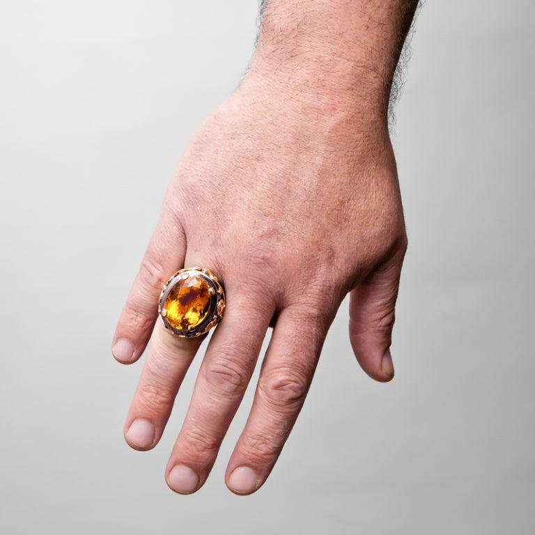 Stylized Large Citrine Gold Men's Ring  5