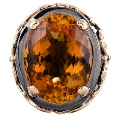 Stylized Large Citrine Gold Men's Ring