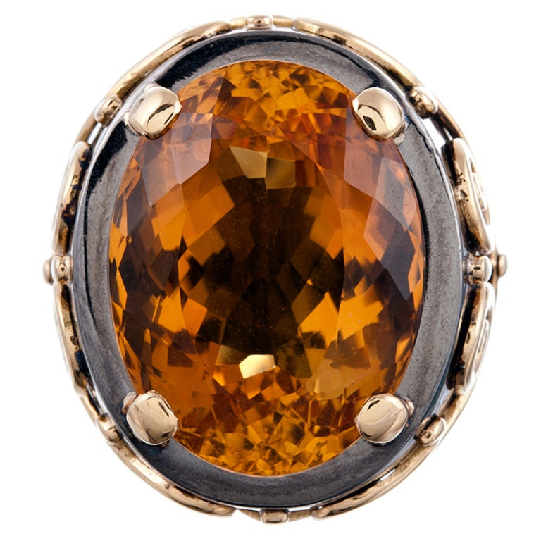 Stylized Large Citrine Gold Men's Ring  1