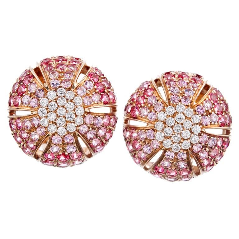 Damiani Pink Sapphire And Diamond Dome Earrings At 1stdibs