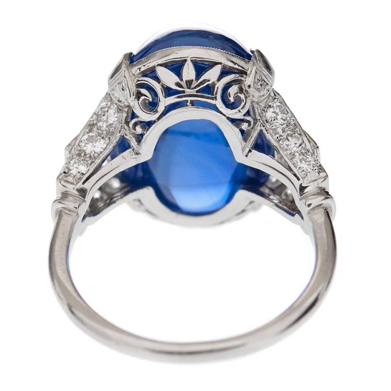 Art Deco Important 26 Carat Ceylon No Heat Sugarloaf Sapphire Ring For Sale