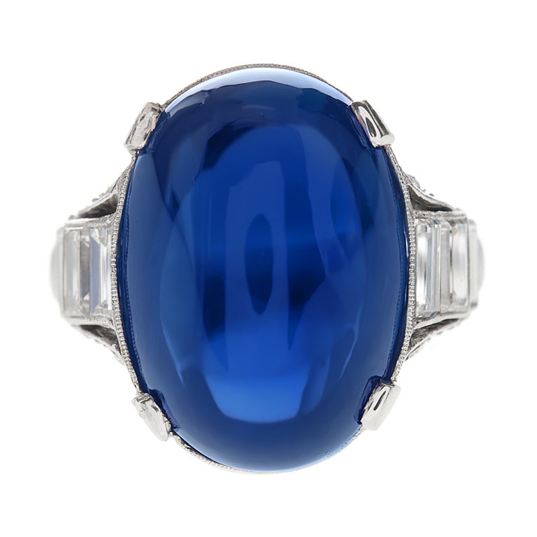 0d0d45d935c83 Important 26 Carat Ceylon No Heat Sugarloaf Sapphire Ring For Sale ...