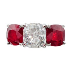 Important Classic Three Stone Diamond and Ruby Ring