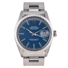 Rolex Stainless Steel Datejust Wristwatch with Matte Blue Dial