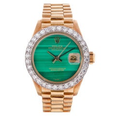 Rolex Lady's Yellow Gold, Malachite Dial, Diamond Bezel Datejust