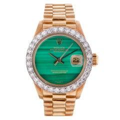 Rolex Lady's Yellow Gold, Malachite Dial, Diamond Bezel Datejust