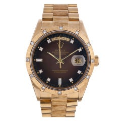 Rolex Yellow Gold Bark Day-Date, Brown Dial with Diamonds