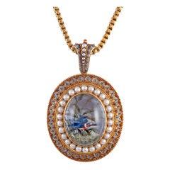 Incredible Reverse Painted Essex Crystal & Natural Pearl Pendant