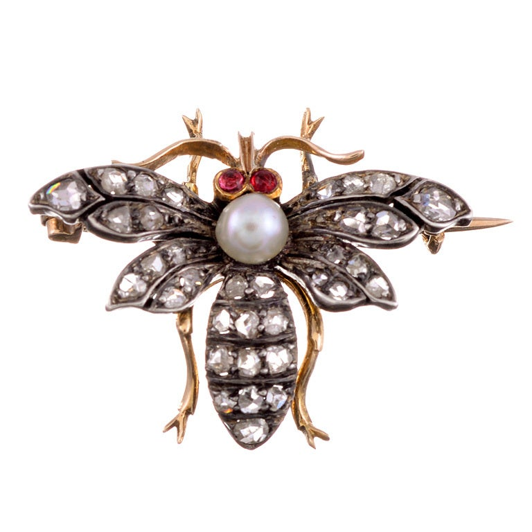 Whimsical Victorian Ruby Rose Cut Diamond Silver Gold Bee