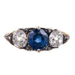 Victorian English Carved Sapphire and Diamond Silver/Gold Ring