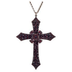 Large Stylized Antique Garnet and Silver Victorian Cross