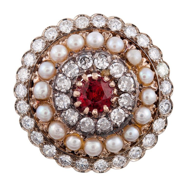Edwardian Red Spinel Natural Pearl And Diamond Handmade