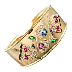 Gemstone Diamond Gold Cuff with Butterflies and Flowers Motif