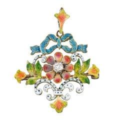 Art Nouveau Enamel Diamond Pin Pendant