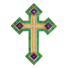 Magnificent Emerald Amethyst Diamond Gold Extra Large Cross Pin Pendant